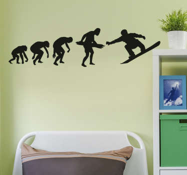 The wall sticker consists of 5 evolution stages from monkey to snowboarder.