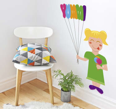 Fetita cu autocolant pentru copii cu baloane