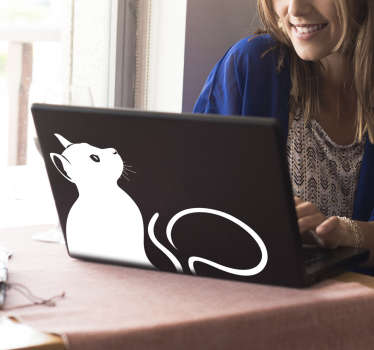 Unlike your own cat, the cat on our laptop sticker will never be in your way if you want to work on your laptop!