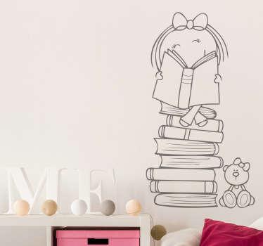 Vinilo infantil niña subida en libros