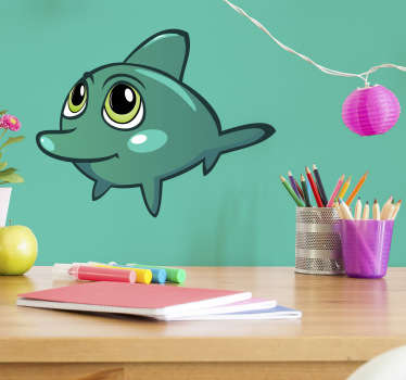 The wall sticker consists of a cute baby dolphin with big eyes.