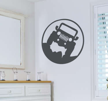 The wall sticker consists of a jeep that travels over rough terrain and is surrounded by a circle.