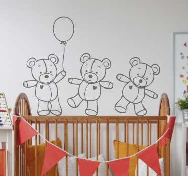 Adesivo decorativo tre orsetti