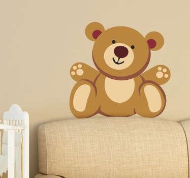 Muursticker zittende Teddy