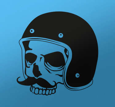 Motorbike Stickers - Skull sticker with a mustache and wearing a retro style helmet Available in various sizes and colours.