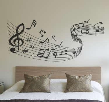 Müzik notaları duvar çıkartması
