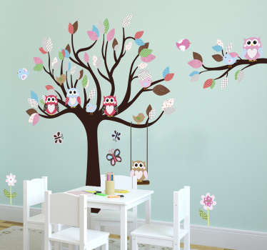 This owl wall sticker consists of a small colourful tree in which many different owls sit. This tree wall decal is especially suitable as a wall decoration in the children's room or nursery and ensures a friendly and playful ambiance.
