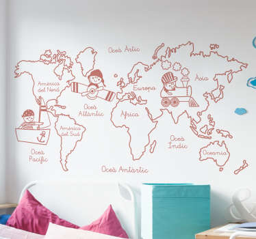 Mural pared infantil con el dibujo de los continentes de recorridos por distintos niños en varios medios de transporte como un tren, un avión o un barco.