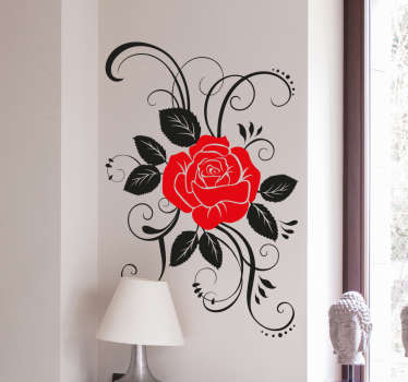 The wall sticker consists of a red rose blossom surrounded by rose petals. Choose your size. High quality vinyl material.