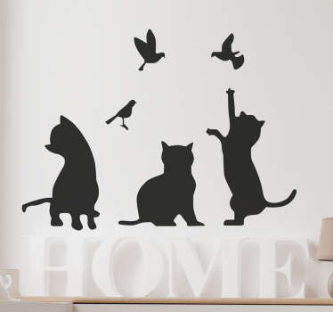 This silhouette wall sticker showing a group of cats trying to catch some birds is a beautiful wall decoration for all animal lovers The sweet kittens playfully chase the birds in this wall sticker The wall decal will be beautiful in any room of the house