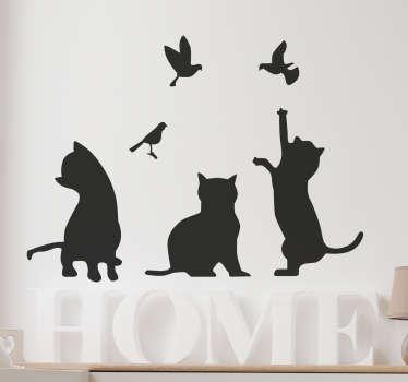 Sticker siluetas gatos y aves