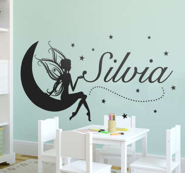 Personalised kids wall sticker of a fairy sat on a crescent moon with your child's name surrounded in stars. Personalise your child's bedroom with this enchanting text sticker and add a touch of magic to your home decor.