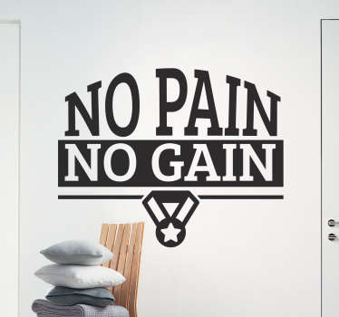 Muursticker No Pain No Gain