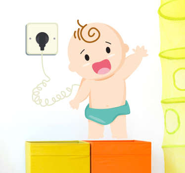 The wall sticker consists of a charging infant boy, standing up and waving towards the audience with a smile on his face.
