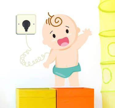 Deze muursticker illustreert een opladende baby en is een mooie wanddecoratie voor in de kinderkamer of babykamer. Dagelijkse kortingen.