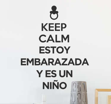 Pegatina keep calm embarazada niño