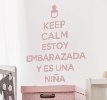 Vinilo keep calm embarazada niña