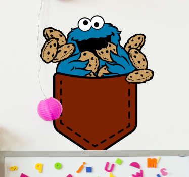 Pegatinas infantiles originales en la que aparece tu personaje favorito de barrio sésamo asomándose de un bolsillo y atiborrándose de galletas.