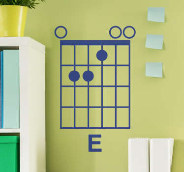 E minor wall sticker, a beautiful wall decoration for guitarists and musicians. Show everyone you are a musician with this beautiful sticker.