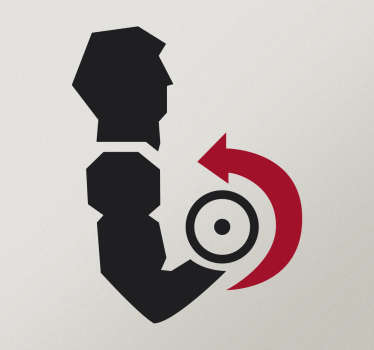 The gym wall sticker consists of a man doing a bicep curl, with a red arrow showing the direction of movement.