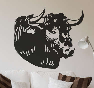 A Wall Sticker of a bulls head. A beautiful wall decoration for animal lovers. Bulls symbolise different things around the world.