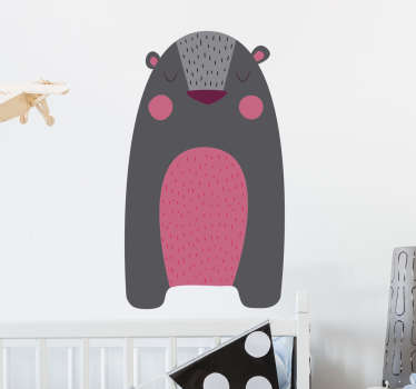 Wall Sticker of a grey bear with a pink belly and pink cheeks, a beautiful wall decoration for kids.