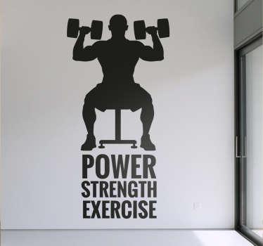 Muursticker fitness Power, Strength, Exercise