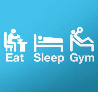 Wandtattoo Eat Sleep Gym