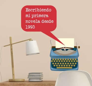Pegatinas personalizables ideales para amantes de las novelas, la lectura y de elementos retro como máquinas de escribir.