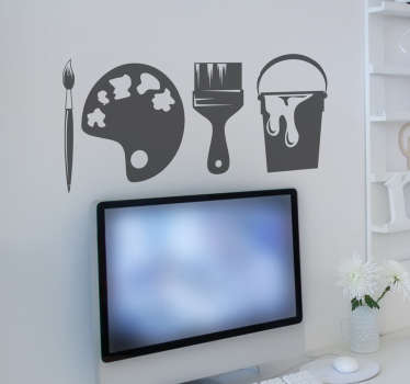 This fun wall sticker consists of a paint brush, paint pallet and paint bucket.