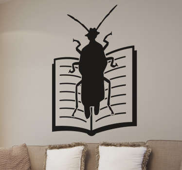 Wall Sticker of a cockroach on a book, one of the greatest masterpieces of Czech writer Franz Kafka. In his book The Metamorphosis