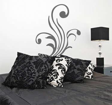 벽 스티커 -3 줄기의 꽃 장식 디자인. 어느 방에서나 즐겁고 균형 잡힌 구성을 만들 수 있습니다
