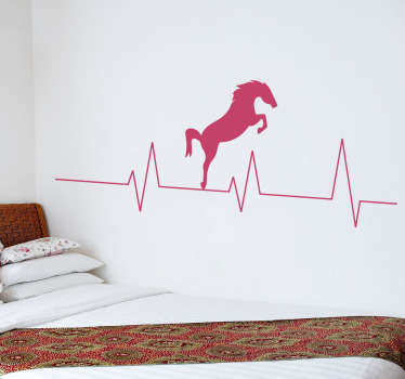 A beautiful and original wall sticker of a horse jumping over a heartbeat. This is a fun sticker for you to decorate your home.