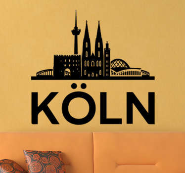 Dieses großartige Wandtattoo mit der Skyline von Köln, der schönen Stadt am Rhein, könnte schon bald auch Ihre weiße Wand zum Hingucker machen!