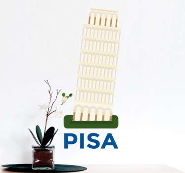 The sticker consists of the leaning tower of Pisa, with Pisa written in bold font under the tower. +10,000 satisfied customers.