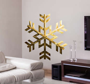 Wandsticker Schneeflocke Gold