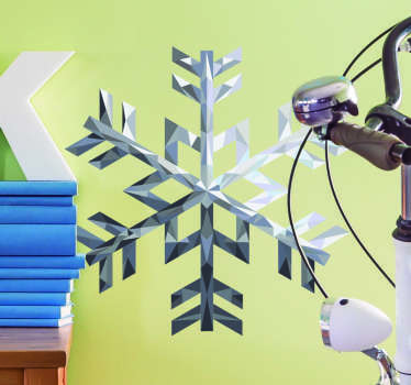 Vinilos decorativos de copos de nieve que recrean geométricamente su composición microscópica y simulan un acabado material en plata.