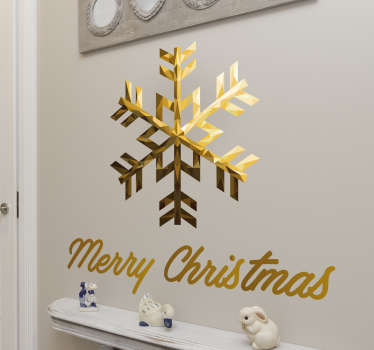 A golden snowflake Wall Sticker with merry Christmas written below the snowflake. A beautiful wall decoration for the winter months.