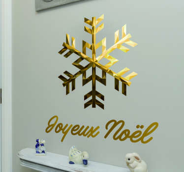 Gold Joyeux Noel snowflake christmas wall sticker
