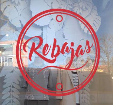 Vinilos de rebajas para escaparates para negocios que deseen promocionar entre su clientela una próxima campaña de descuentos.