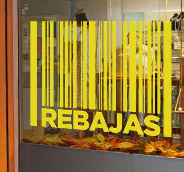 Decora el escaparate de tu negocio con vinilos de rebajas de diseño original, disponibles en más de cincuenta colores distintos.