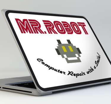 Vinilo decorativo de Mr. Robot con su logotipo y la ilustración en ocho bits que aparece en el escaparate de la tienda del padre de Elliot.