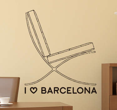 Wall Sticker of the Barcelona chair, a beautiful artistic wall decoration for all fans of the city of Barcelona.