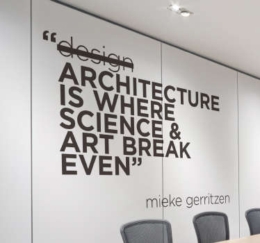 This inspirational and motivational wall sticker which is perfect for offices or the homes of architects features a quote from Mieke Gerritzen