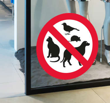 No pets allowed sticker. This sticker can be placed in shop windows, home window, or at the door.
