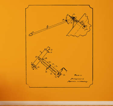 If you're a fan of all things vintage and also technical and engineering related, then this decorative wall sticker featuring a technical drawing