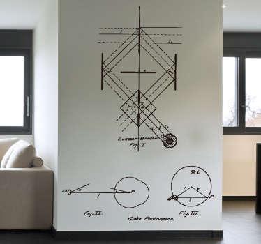Naklejka ze szkicem inżynierskim