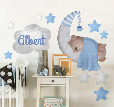 This customisable sticker featuring the design of a bear sleeping on the moon is ideal for decorating your children's bedroom