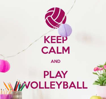 Vinilo Keep calm volleyball texto