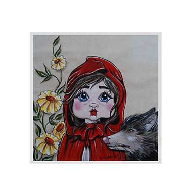 TenStickers. Muursticker Roodkapje schilder stijl. Muursticker bedrukt met een afbeelding van Roodkapje in een schilderachtige stijl, een mooie en originele wanddecoratie.